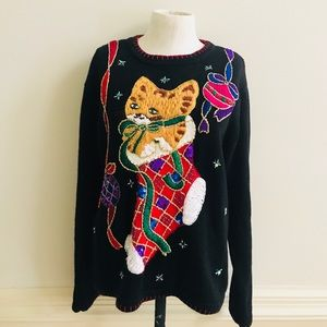 Vintage 80's ugly Christmas cat sweater size M